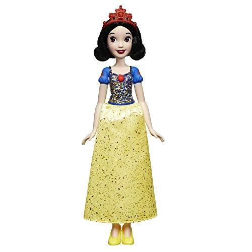 Disney Prinzessin Schimmerglanz Schneewittchen, Modepuppe mit glitzerndem Rock, Krone und Schuhen