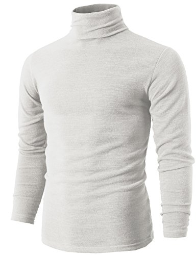 H2H Mens Soft Knitted Turtleneck Ugly Christmas Sweater White US L/Asia 3XL (KMTTL028)