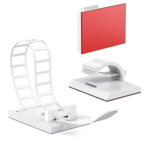 50 Pcs Adhesive Cord Organizers, AGPTEK Adjustable 25PCS Cable Clips and 25PCS Cable Ties for Home Office Cable Management,White