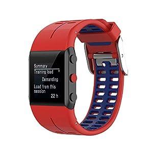 KINOEHOO Correas para relojes con Polar V800 Pulseras de repuesto.Correas para relojesde silicona.(Rojo y azul)