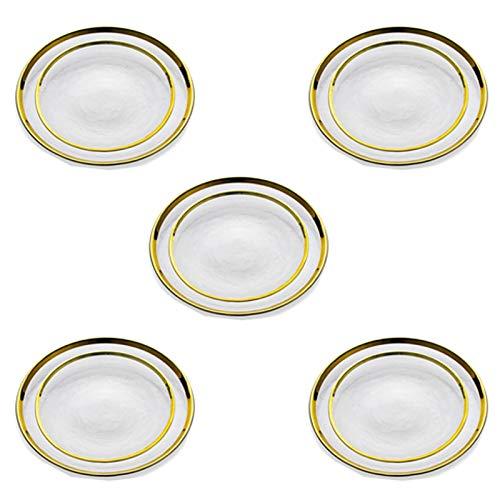 Nuptio Seitenplatten Runde Ladeschalen Glasschale mit Goldrand, Glasplatten Abendessen Ladegeräte für Empfänge Hochzeiten Partys Bankette Tischdekoration Veranstaltungen, 10 Stück(5 Sätze)