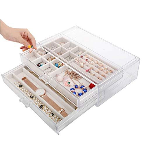Caja de joyería de Dos Capas Cajón Transparente de plástico Pendientes Simples Almacenamiento de Pantalla 32 * 20 * 9 cm MUMUJIN