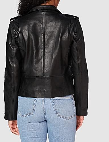 Superdry LS Essentials Biker Chaqueta, Negro (Black 02a), S para Mujer