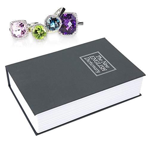Caja de seguridad para libros de simulación, caja fuerte para libros portátil para documentos para monedas para tarjetas bancarias para joyería