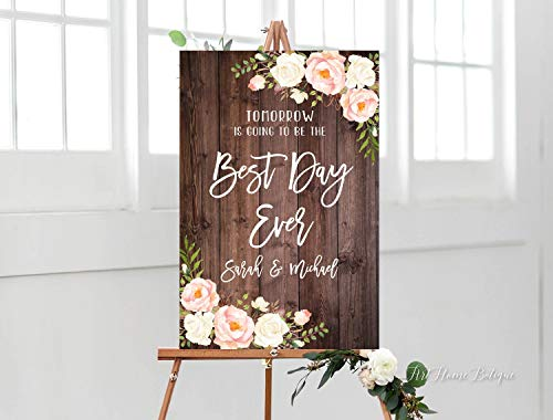 Yohoba Tomorrow is Going to Be The Best Day Ever Schild, rustikales Rehearsal Dinner Willkommensschild, bedruckbares Schild, Digitale File, Rouge und Weiß