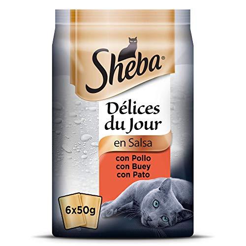 Sheba Délices du Jour Comida húmeda para Gatos, Sabor Carnes, Multipack (Pack de 12 x 6 bolsitas x 50g)