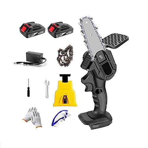 XDXDO Mini Motosierra, Motosierra inalámbrica eléctrica con 2 cizallas de poda de Mano Recargable de batería para Rama de árbol, motosierras de jardín para Cortar Madera