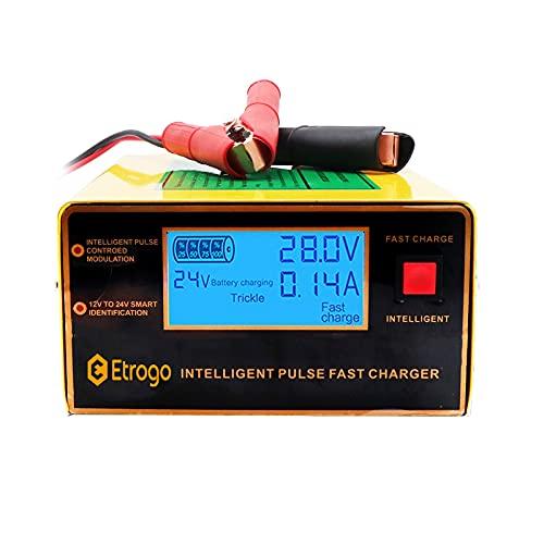 Etrogo Cargador de Coche 12V/24V 5 Fases 1A a 10A 200W Cargador de Pulso Inteligente con Función de Detección Automática + Reparación + Mantenimiento con Gran Pantalla