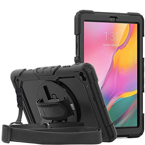 DAORANGE Hülle für Samsung Galaxy Tab A 10.1 2019 T510/T515, Stoßfeste Schutzhülle mit Displayschutzfolie&360° Drehbar Stand&Handschlaufe für Galaxy Tab A 2019 SM-T510/T515 10,1 Zoll (Schwarz)