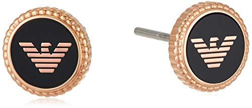 Emporio Armani Pendientes de Botón para Mujer, Oro Rosa/Negro EGS2534221