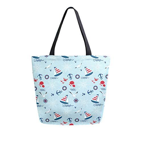 YKMustwin Canvas Tote Bag Marine Anchor Cartoon Ship Large Handbags Reusable Multi Purpose Tote Strong Durable for Woman Man
