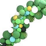 Globos de decoración para cumpleaños infantiles, color verde, 128 unidades, color verde manzana, verde claro, globos verdes, verde oscuro, verde metalizado, para fiestas verdes, cocodrilo
