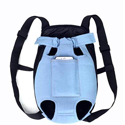 YingQ Mochila De Malla para Mascotas Camuflaje Transpirable Productos De Viaje Al Aire Libre Bolsas para Perros Pequeños Gatos Chihuahua Mochila De Malla Mezclilla Azul Claro XL
