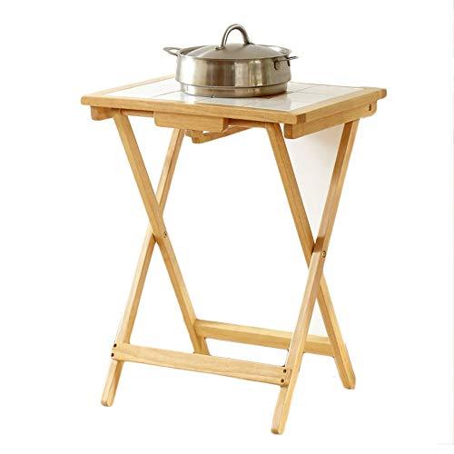 Vouwtafel van massief hout, kleine huishoudelijke eettafel, laptoptafel, draagbare kleine vierkante tafel, tuintafel