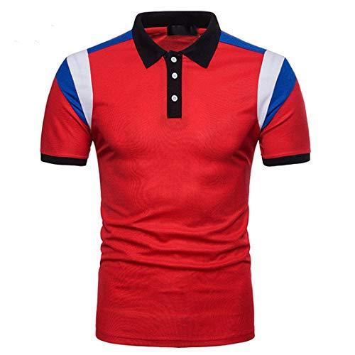 FULUN Herren Sommer Kurzarmshirt Polo T-Shirt Polohemd mit Polokragen Knöpfen Regular Fit Baumwolle Farbblock Bussiness Poloshirts Tops Sommerhemd Kurzarmhemd