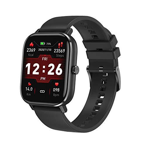 Pulsera Inteligente de Actividad,Pulsera de control de la presión arterial del ritmo cardíaco, reloj elegante impermeable de la charla-Pegamento negro,Podómetro Monitores de Actividad Impermeable