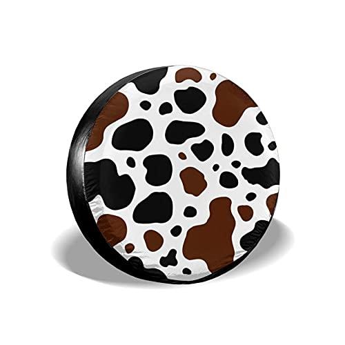 Yaxinduobao Cubierta de llanta de Repuesto con Estampado de Vaca Blanca, Negra y marrón, Impermeable, a Prueba de Polvo, UV, Cubierta de llanta para Rueda de Sol, 16 Pulgadas