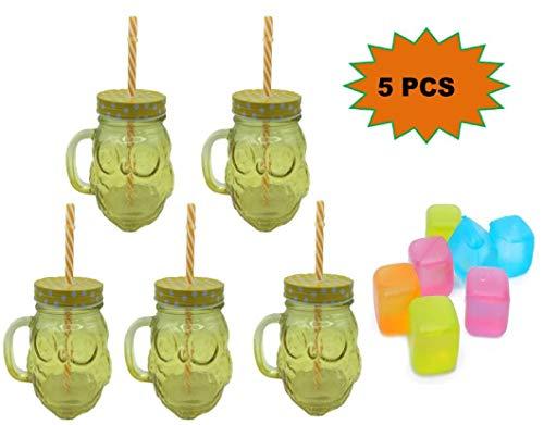 ML Pack de 5 Vasos de Cristal con Forma de Buho 500ml con Cierre de Rosca y Pajita de plástico + Regalo 6 Cubitera Reutilizable, plástico, Multicolor de 3cm -Amarillo