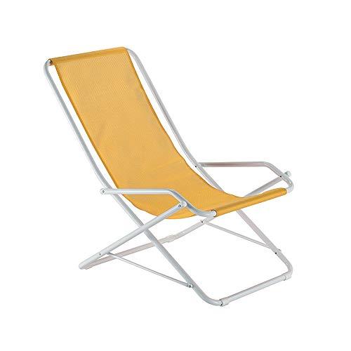 Liegestuhl Liege Fiam in Stahl weiss und Tex  Gelb