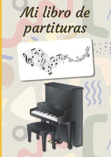 Mi libro de partituras: Cuaderno de música | Libro de partituras | Cuaderno de teoría musical | A4 grande - 100 páginas | Cubierta temática de piano vertical