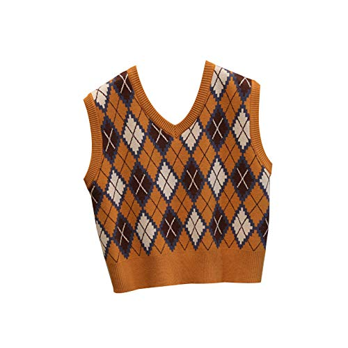 WangsCanis las Mujeres sin Mangas de Tela Escocesa de Argyle suéter de Punto Chaleco Flojo streetwearv Cuello géneros de Punto del Tanque de Muy Buen Gusto suéter Superior(Naranja,un tamaño)