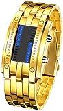 Binary Matrix Blue LED Digital Watch Mens Classic Creative Fashion Black Plated Wrist Watches (Gold)