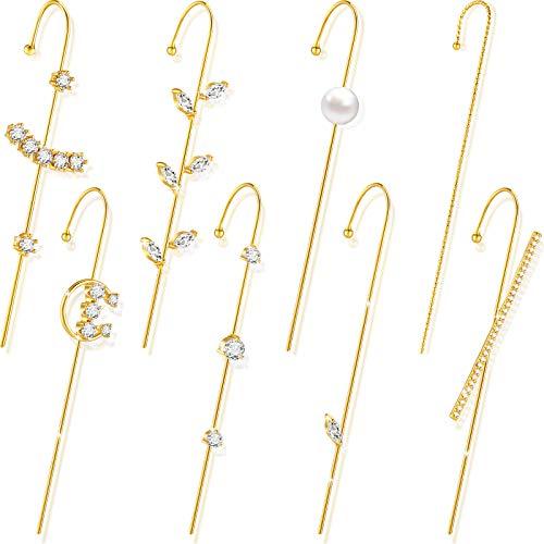 8 Pendientes Crawler de Gancho de Oreja Pendientes de Botón de Envoltura Ear Cuff Joyería de Orejas de Diamantes de Imitación Aleación para Mujer Cumpleaños San Valentín (Estilo Novedoso)