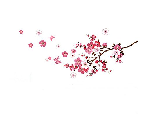 Amovible Fleur Fleur Papillon Vinyle Art Sticker Mur Autocollant de la Maison Chambre Decor Prune Stickers muraux