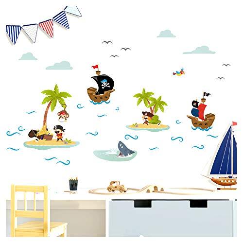 Little Deco Aufkleber Piraten Schiffe & Schatzinsel I Wandbild M - 120 x 54 cm (BxH) I Wandtattoo Kinderzimmer Junge Babyzimmer Deko Wandaufkleber Baby Sticker DL332