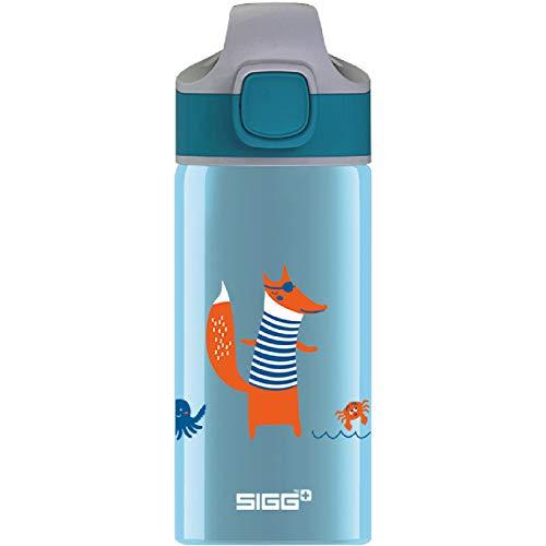 SIGG Fox Cantimplora infantil (0.4 L), botella para niños sin sustancias nocivas y con tapa hermética, botella de aluminio con pajita