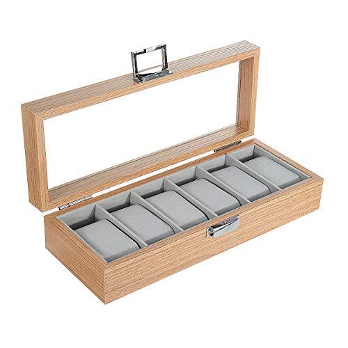 ExcLent 6 Slots Holzuhr Schmuck Aufbewahrungsbox Box Uhren Display Halter Geschenkbox