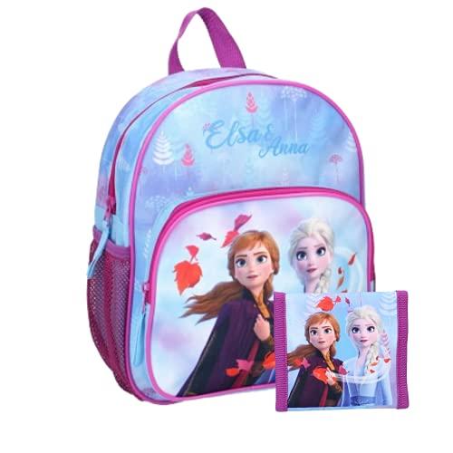 PRET - Mochila infantil con diseño de Frozen, 29 cm, correas ajustables y cartera