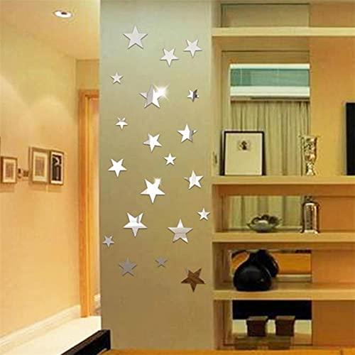 TOSSPER Forma 20pcs Estrella del Espejo Sticker Acrílico Reflejadas Calcomanías para Salón Dormitorio Decoración