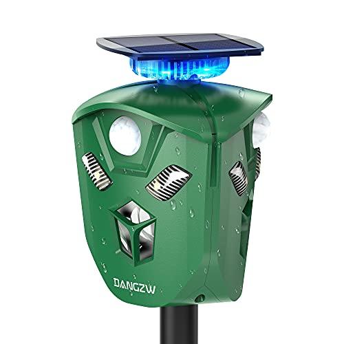 DANGZW Repelente de Gatos 2 en 1 USB y con Energía Solar, Repelente Ultrasónico Impermeable IP65 con Estaca en el Suelo, Disuasivo para Gatos, Perros, Zorros, Ratones, Martas