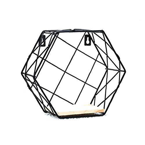 1pc Montado En La Pared Del Hierro Del Estante Del Estante De Metal Hexagonal De Alambre De Metal Del Hexágono Diseño Estantes Flotantes Cuadrícula Decoración De La Pared Para La Vida