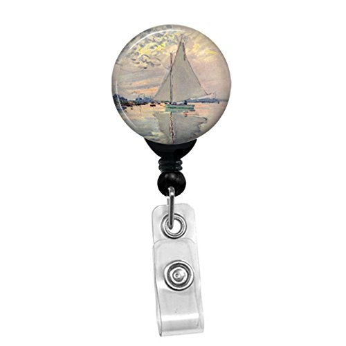 Claude Monet - Sailboat - Retractable Badge Reel - ID Name Tag Custom Badge