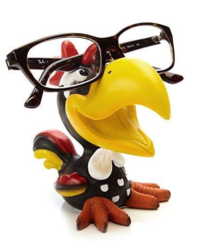 By Bers Brillenhalter Die_Vögel Design, handbemalt, echt lustig, aus Polyresin, für Kinder und Erwachsene (HahnSchwarz)