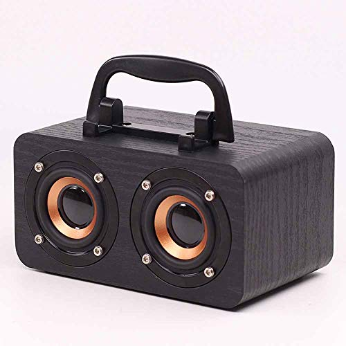 LMJ Outsider Bluetooth Holzhaus Lautsprecher, Bluetooth Bluetooth Audio Handy Bluetooth Holz Bluetooth Office Lautsprecher,Schwarz