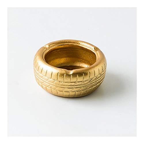 Neumático De La Personalidad Cenicero Creativo Oficina Mesa De Centro Mesa De Té Retro Cenicero De Cemento Adornos Decorativos WXIFEID (Color : Gold)