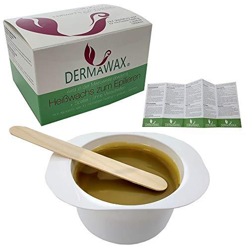 Dermawax Natural Honig Wachs Heißwachs zum Epilieren in der Mikrowelle erwärmt Anwendung ohne Wachsstreifen zur Haarentfernung Enthaarung Brazilian Waxing für Zuhause ganz Körper Waxing