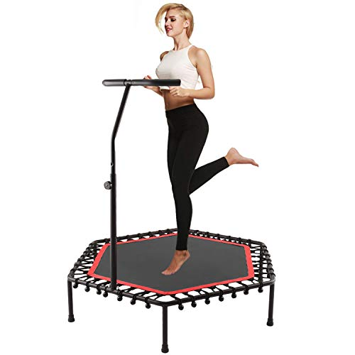 Scallop 50 Inch Mini Rebounder Trampoline with Adjustable Handle for Adults or Kids, Indoor Fitness Rebounder Trampoline   Max. Load 220LBS (Red)