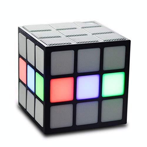 Hootiny Cubo De Rubik Bluetooth Altavoz Linterna Inalámbrico Mini Subwoofer Portátil Plug-in Soporte Manos Libres Llamada Inteligente,White