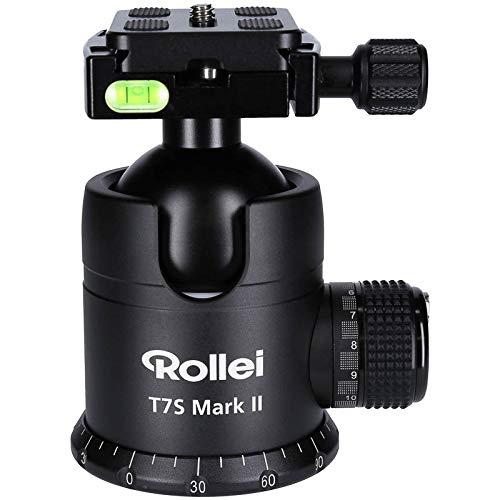 Rollei T7S Mark II - professioneller 360 Grad Kamera Stativ Kugelkopf mit Friktion, 40KG Tragkraft, Skalierung für Panorama Aufnahmen und 2 Wasserwaagen, inkl Arca Swiss komp. Schnellwechselplatte