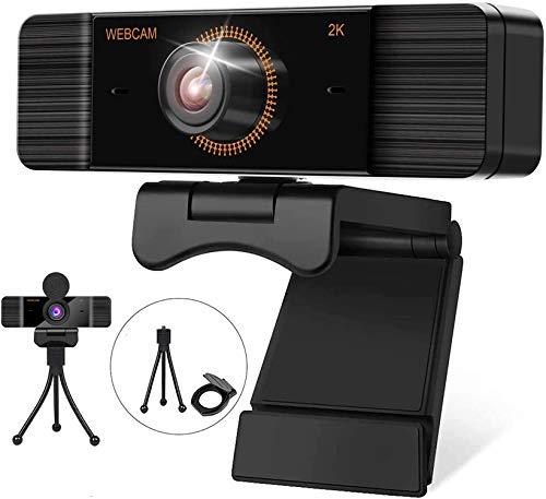 2K Webcam 1440p Full HD con Micrófono Y cubierta de privacidad, USB Web Camera Con trípode, para Mac Windows Portátil Videollamadas Conferencias Juegos Plug y Play, Cámara web para Skype FaceTime