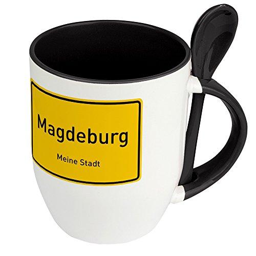 Städtetasse Magdeburg - Löffel-Tasse mit Motiv Ortsschild - Becher, Kaffeetasse, Kaffeebecher, Mug - Schwarz