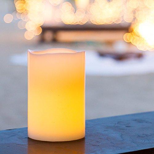 Bougie cylindrique en cire, h 15 cm à piles, led blanc chaud, intérieur