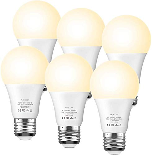 Smart Light Bulb Dimmable - Aoycocr A19 E26 Soft White 2700K RGBW Color Changing Lights Bulb Work with Alexa Google Home IFTTT for Smart Home, No Hub Required, 750 Lumens, 7.5 (65W Equivalent)