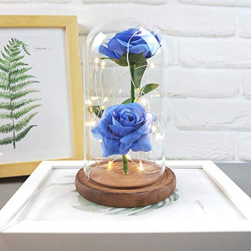 'Yazi Dan Romantic Glass Rose Set.Wedding Decoration Home Furnishing Gifts–Incluye: Una Rojos Seda Rose, LED luz Cadena, Algunos abgefallene Pétalos, una Botella de Cristal, una Base de Madera
