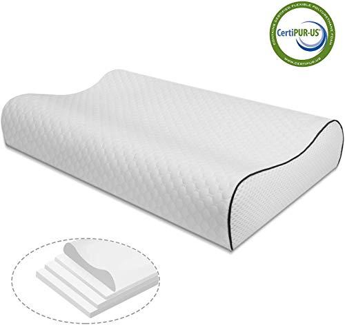 Vesgantti Kopfkissen 4 Schichten Höheverstellbar Memory Foam Kissen Orthopädisches Viscoschaum Pillow Schlafkissen 60x38x12 Nackenstützkissen