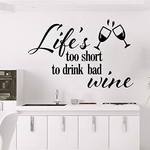 Bebida creativa la vida del vino es demasiado corta Decoraciones para el hogar Calcomanías de pared Dormitorio Decoración de guardería A7 43x65cm